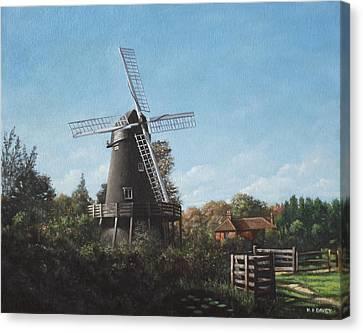 Southampton Bursledon Windmill Canvas Print by Martin Davey