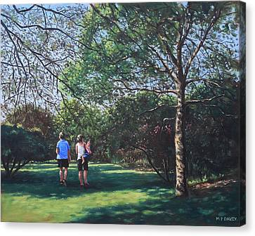 Southampton People In Park Canvas Print by Martin Davey