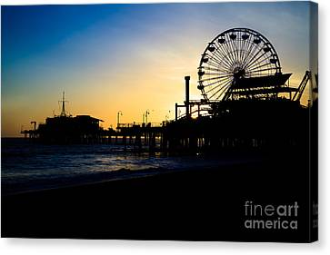 Southern California Santa Monica Pier Sunset Canvas Print by Paul Velgos
