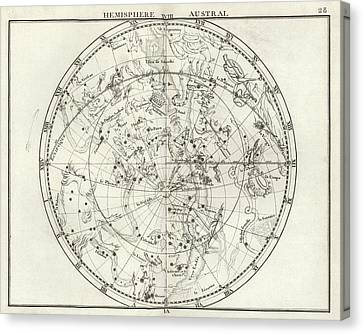 Southern Hemisphere Star Chart Canvas Print by Us Navy