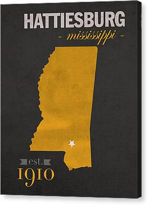 Southern Mississippi Golden Eagles Hattiesburg College Town State Map Poster Series No 099 Canvas Print by Design Turnpike