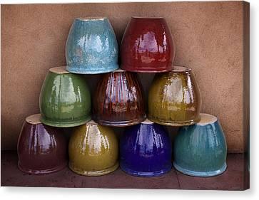 Southwestern Ceramic Pots Canvas Print by Carol Leigh