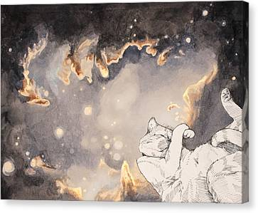 Space Cat - Magellanic Cloud Canvas Print by Theresa Hentz