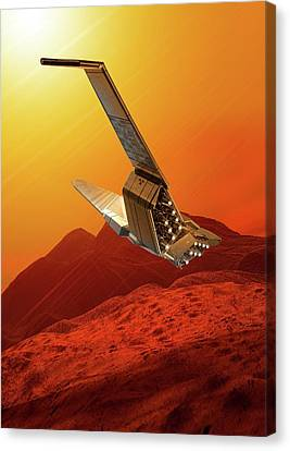 Space Craft In Outer Space Canvas Print by Victor Habbick Visions