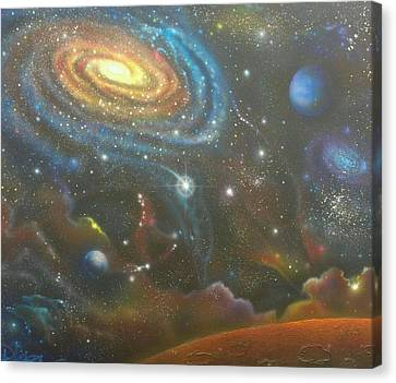 Space Dolphins Canvas Print by Darren Robinson