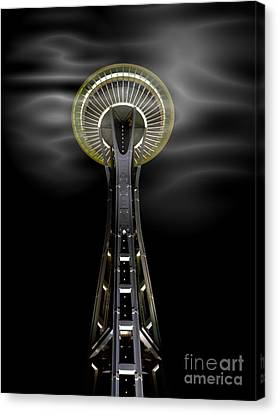 Space Needle And Clouds Canvas Print by Chalet Roome-Rigdon