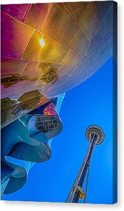 Space Needle And Emp In Perspective Hdr Canvas Print by Scott Campbell