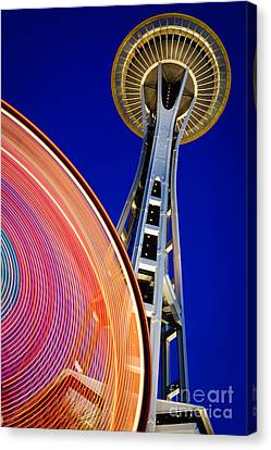 Space Needle Color Wheel Canvas Print by Inge Johnsson