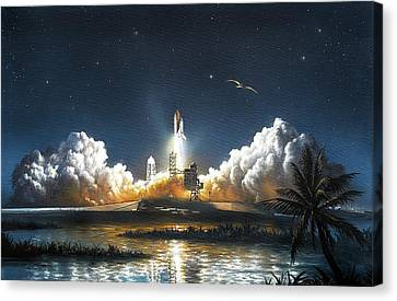 Space Shuttle Launch Canvas Print by David A. Hardy