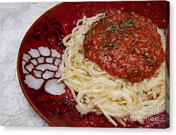 Spaghetti Red Canvas Print by Andee Design