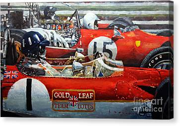 Spain Gp 1969  Lotus 49 Hill  Ferrari 312 Amon  Lotus 49b Rindt  Canvas Print by Yuriy Shevchuk
