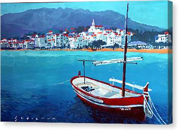 Spain Series 08 Cadaques Red Boat Canvas Print by Yuriy Shevchuk