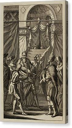 Spanish And Native American Men Canvas Print by British Library