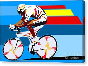 spanish cycling athlete illustration print Miguel Indurain Canvas Print by Sassan Filsoof