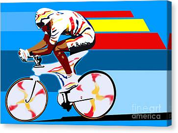 spanish cycling athlete illustration print Miguel Indurain Canvas Print by Sassan Filsoof