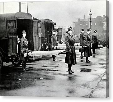 Spanish Flu Ambulances Canvas Print by Library Of Congress