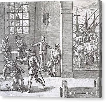 Spanish Traitors In Panama Canvas Print by Theodore De Bry