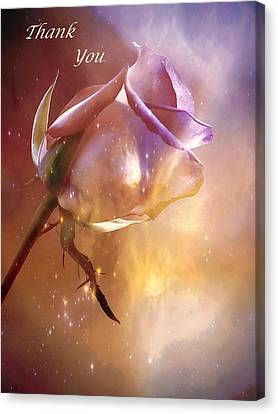 Sparkling Rose Thank You Canvas Print by Anne Macdonald