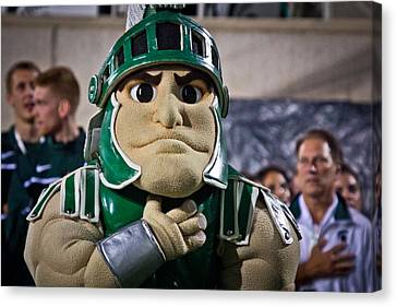 Sparty And Izzo National Anthem  Canvas Print by John McGraw