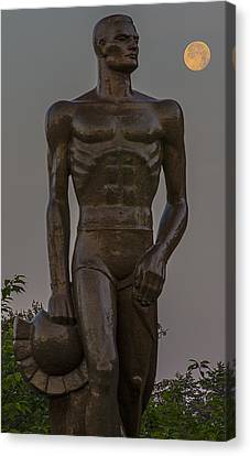Sparty And Moon Canvas Print by John McGraw