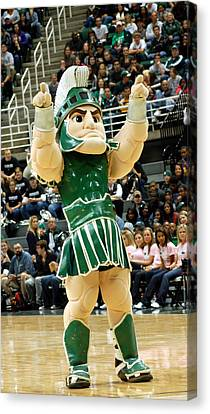 Sparty At Basketball Game  Canvas Print by John McGraw