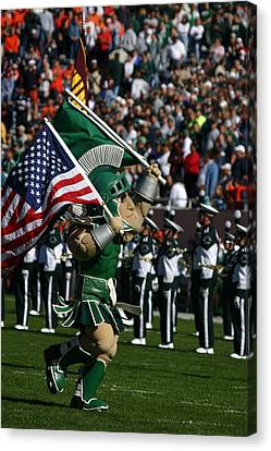 Sparty At Football Game Canvas Print by John McGraw