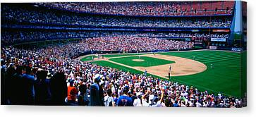 Spectators In A Baseball Stadium, Shea Canvas Print by Panoramic Images