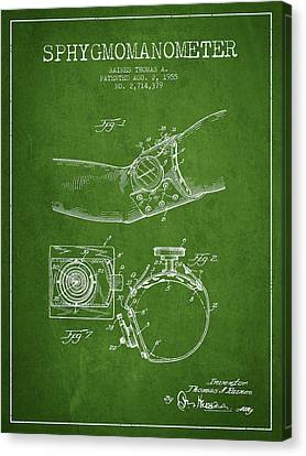 Sphygmomanometer Patent Drawing From 1955 - Green Canvas Print by Aged Pixel