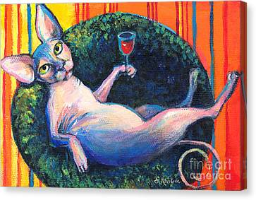 Sphynx Cat Relaxing Canvas Print by Svetlana Novikova