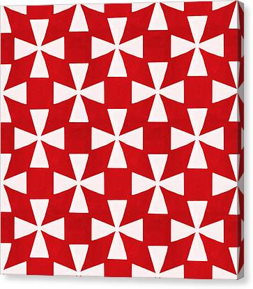 Spice Twirl- Red And White Pattern Canvas Print by Linda Woods