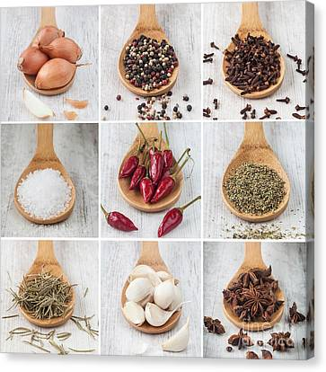 Spices Collage Canvas Print by Sabino Parente