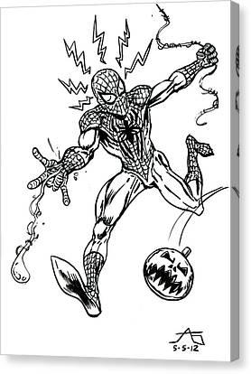Spidey Dodges A Pumpkin Bomb Canvas Print by John Ashton Golden