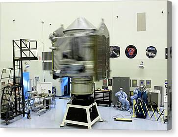 Spin Test Of The Maven Spacecraft Canvas Print by Nasa