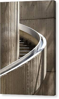 Spiral Staircase In Renaissance Center In Detroit  Canvas Print by John McGraw