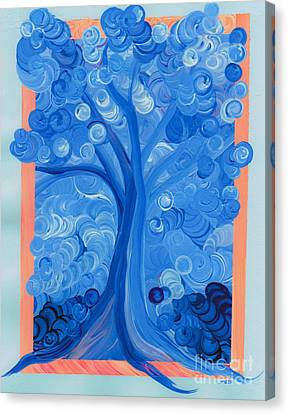 Spiral Tree Winter Blue Canvas Print by First Star Art