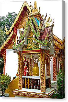 Spirit House At Wat Phrathat Doi Sutep In Chiang Mai-thailand Canvas Print by Ruth Hager