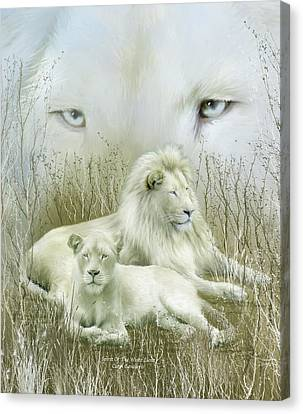 Spirit Of The White Lions Canvas Print by Carol Cavalaris