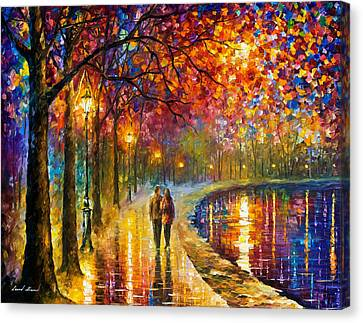 Spirits By The Lake - Palette Knife Oil Painting On Canvas By Leonid Afremov Canvas Print by Leonid Afremov