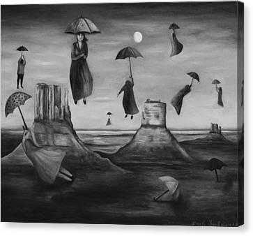 Spirits Of The Flying Umbrellas Bw Canvas Print by Leah Saulnier The Painting Maniac