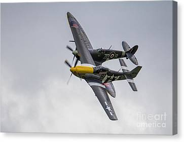 Spitfire And Mustang Canvas Print by J Biggadike