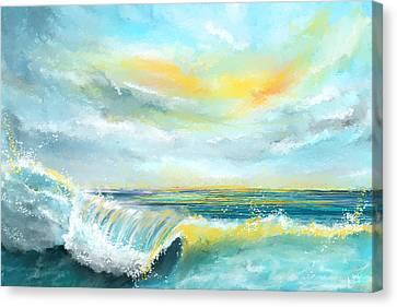 Splash Of Sun - Seascapes Sunset Abstract Painting Canvas Print by Lourry Legarde