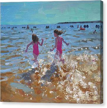 Splashing In The Sea Canvas Print by Andrew Macara