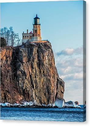 Split Rock Lighthouse In Winter Canvas Print by Paul Freidlund