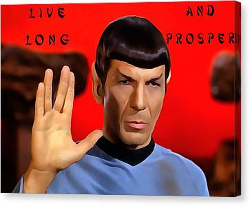 Spock Live Long And Prosper Canvas Print by Dan Sproul