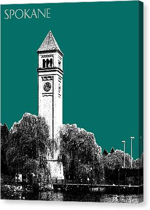 Spokane Skyline Clock Tower - Sea Green Canvas Print by DB Artist