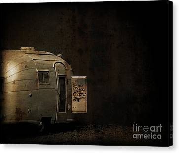 Spooky Airstream Campsite Canvas Print by Edward Fielding