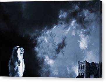 Spooky Wolflike Borzoi Hound And Old Castle Canvas Print by Christian Lagereek