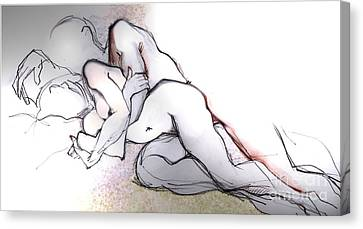 Spooning - Couples In Love Canvas Print by Carolyn Weltman