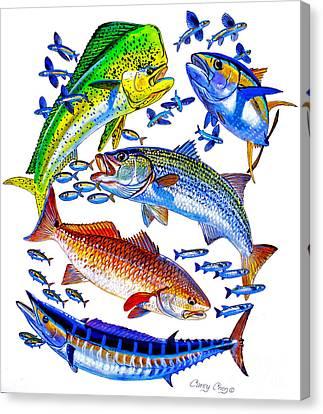 Sportfish Collage Canvas Print by Carey Chen