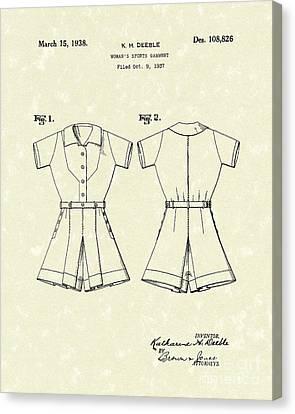 Sports Garment 1938 Patent Art Canvas Print by Prior Art Design